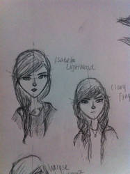 Isabelle and Clary sketches by thedreamiscollapsing