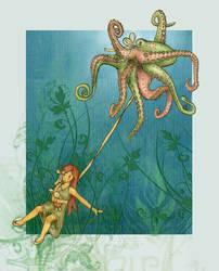 a polka dotted octopus by GrueneWolken