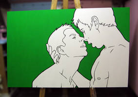The Almost Kiss, painting by Pandaphobia