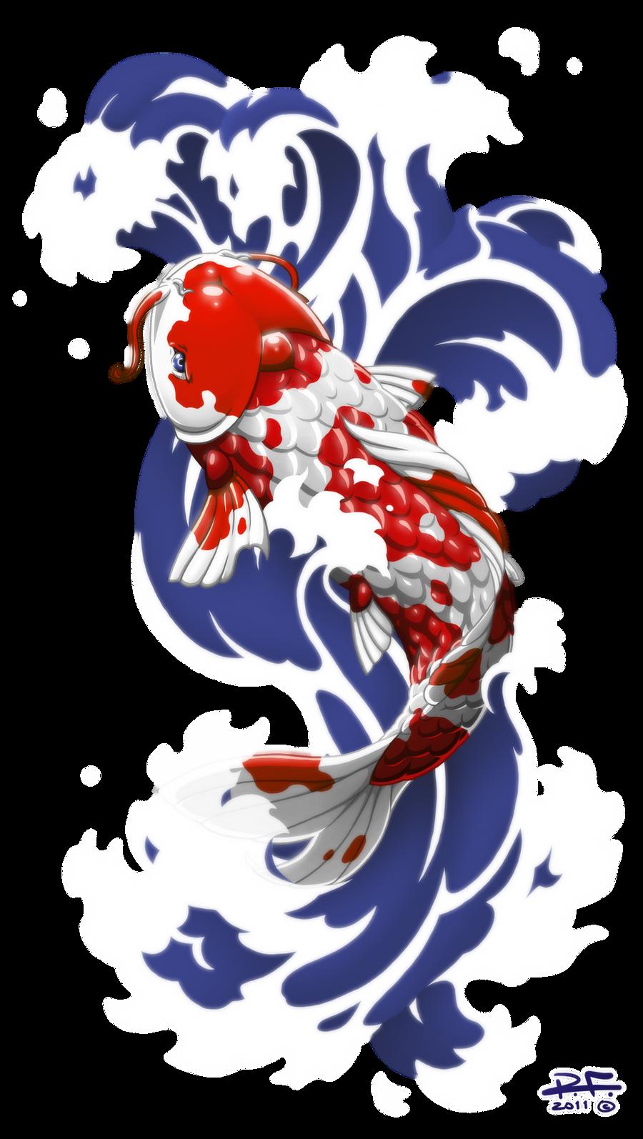 Red koi by pandaphobia on deviantart for Koi carp artwork