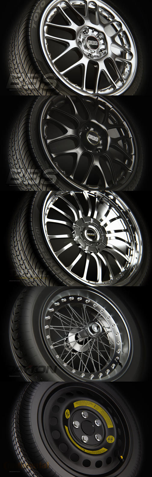 Wheels Rims Tires Vray by 3DPORTFOLIO