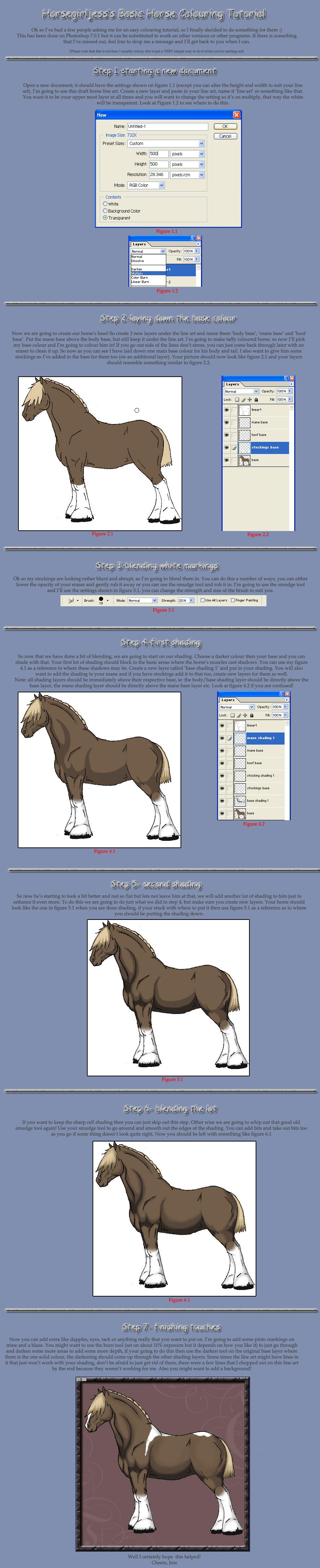 Basic Horse Colouring Tutorial by horsegirljess