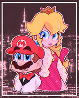 Mario and Peach (commercial thing) by TemmieSkyie