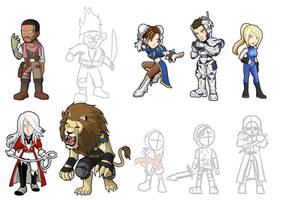 Game Heroes pack 14 sketches by Fandias