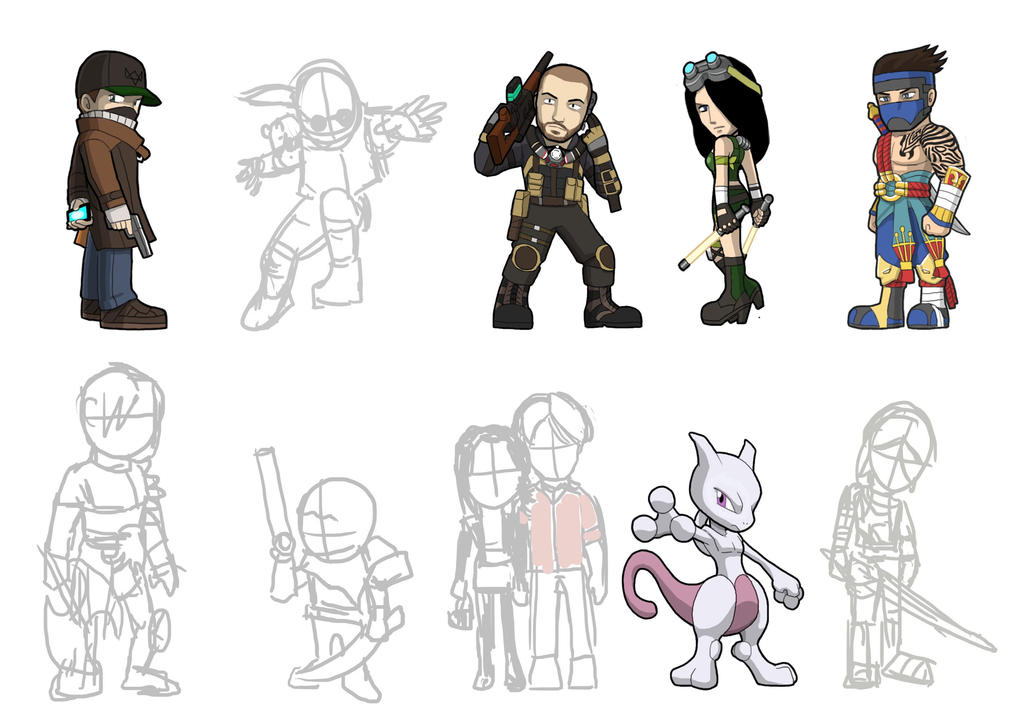 Game Heroes pack 15 sketches by Fandias