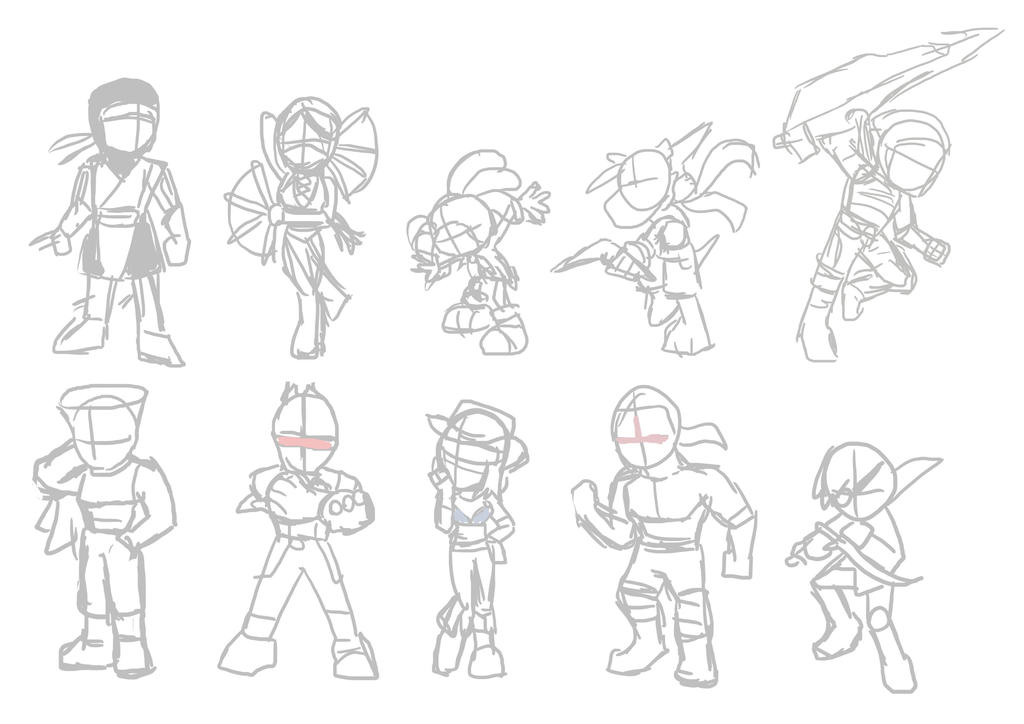 Game Heroes pack 16 sketches by Fandias