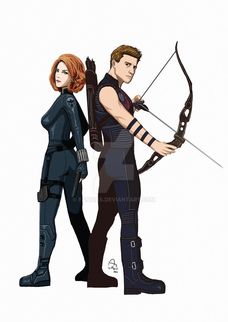 Black Widow and Hawkeye by Fandias