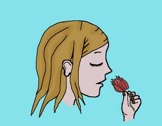 GirlProfileWithFlower by dromedax