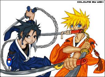 Sasuke and Naruto by wishu