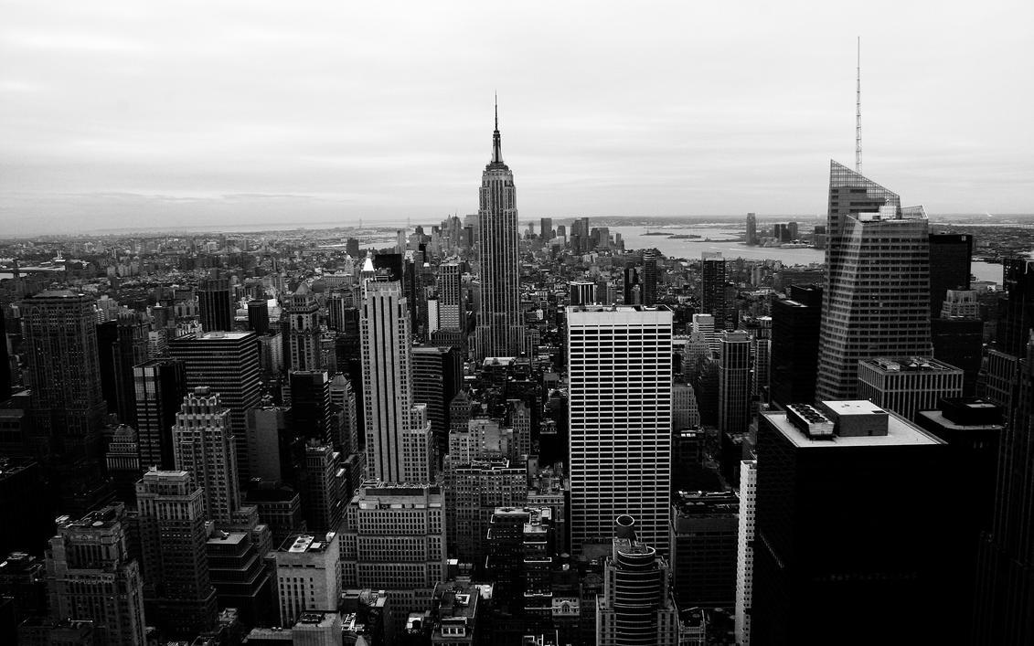Ny skyline bw by fletchlives on deviantart for Black and white new york mural wallpaper