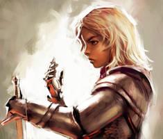 Lu in knightly armor by Pokkuti