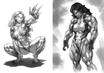 She-Hulk and Witchblade by Pokkuti