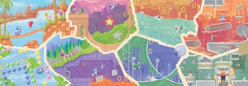 Sonic the Hedgehog Fresco by Orioto