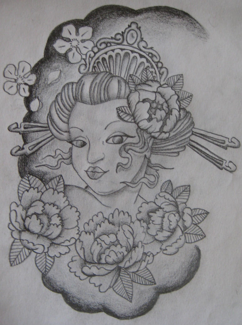 Geisha girl Tattoo design by EmmaJaneOGrady on DeviantArt Zombie Head Stencil