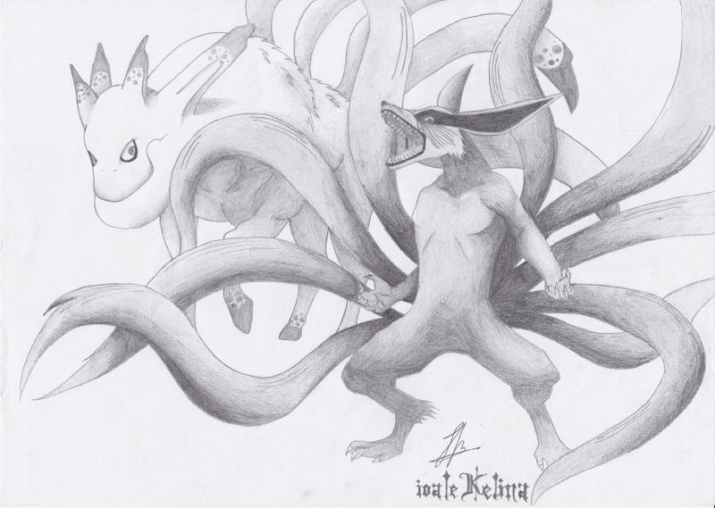 Nine Tails and Five Tails by IoaleKelina