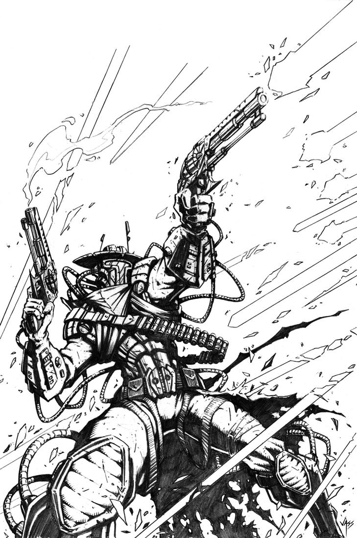 Bounty Hunter Mercenary Pencil by VASS-comics