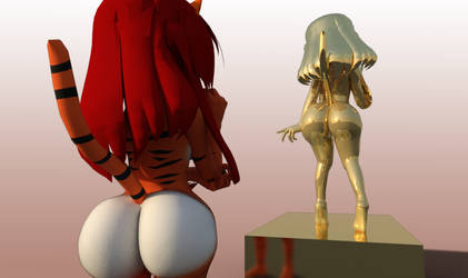Odile gold statue by thestooge2222