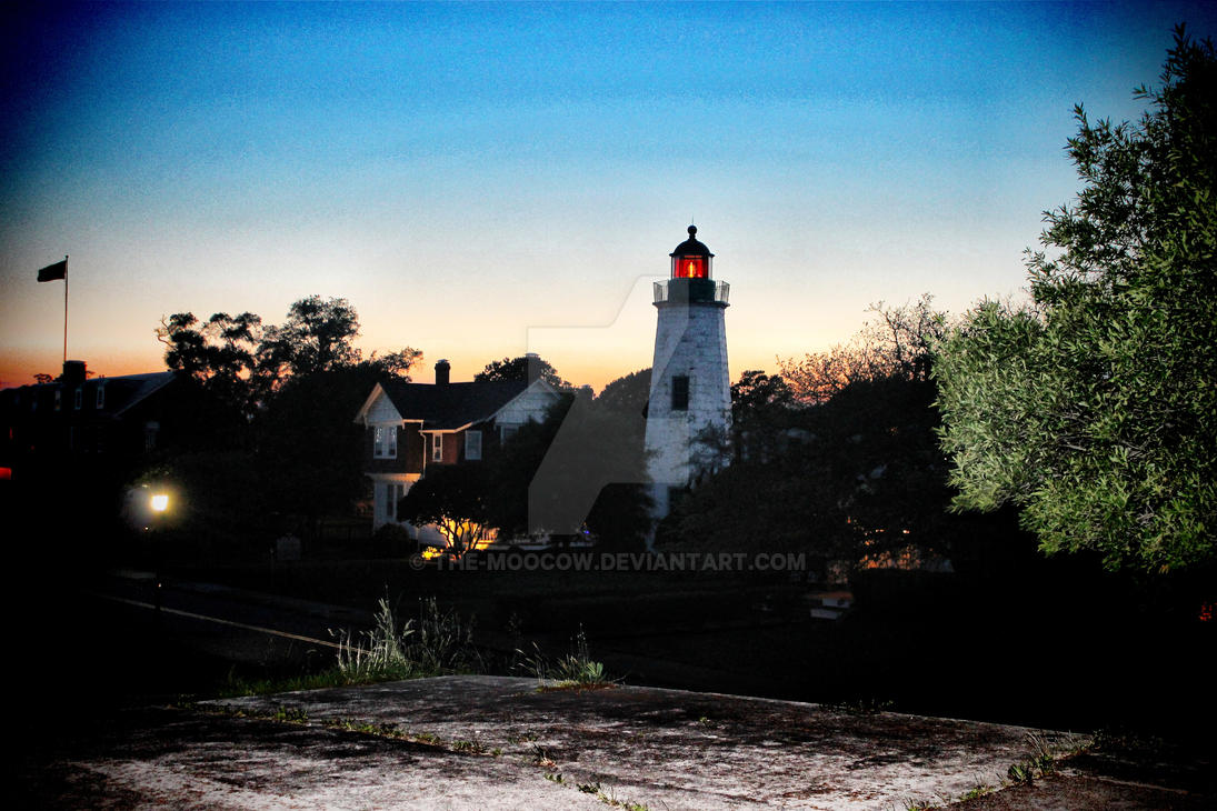 Fort Monroe Lighthouse at Dusk V by The-MooCow