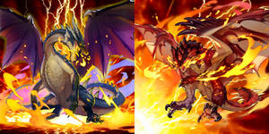 Black Dragon Fatalis and Rathalos King of the Skie