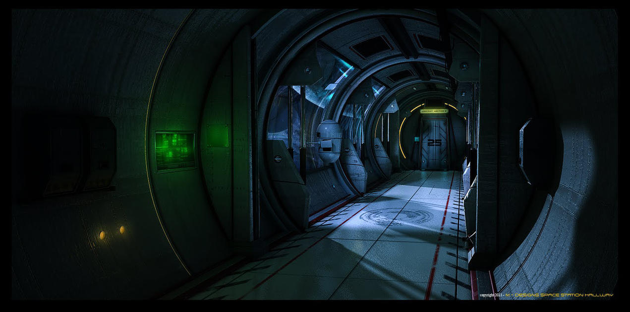 Space Station Hallway by MAKS-23