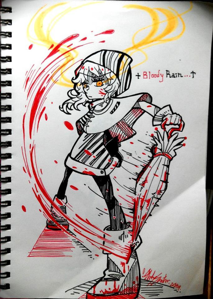 Bloody Rain - ballpen doodle by Lilu-Leloo