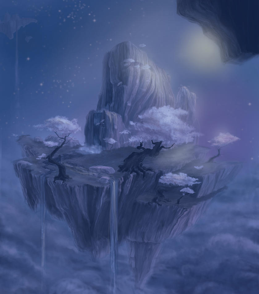 Floating Island Night by robtheR0B0T