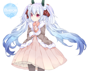 Hatsune Miku snow render by Elverae