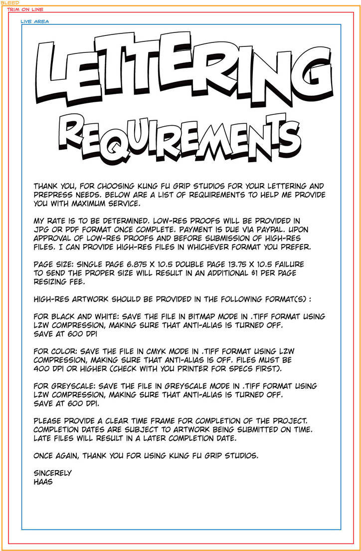 Lettering Requirements by KungFuGripStudios