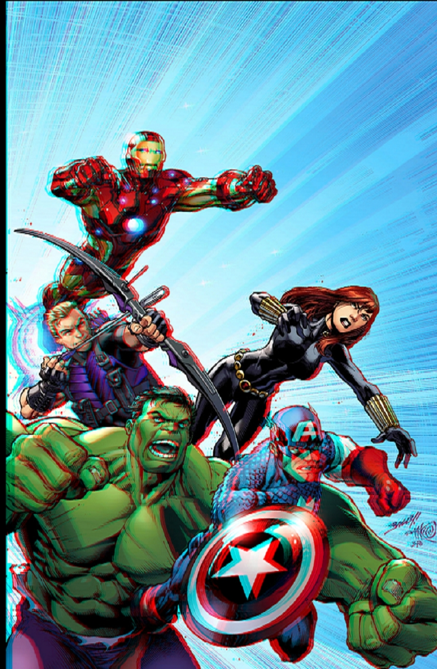 Avengers Assemble 3D Anaglyph by xmancyclops