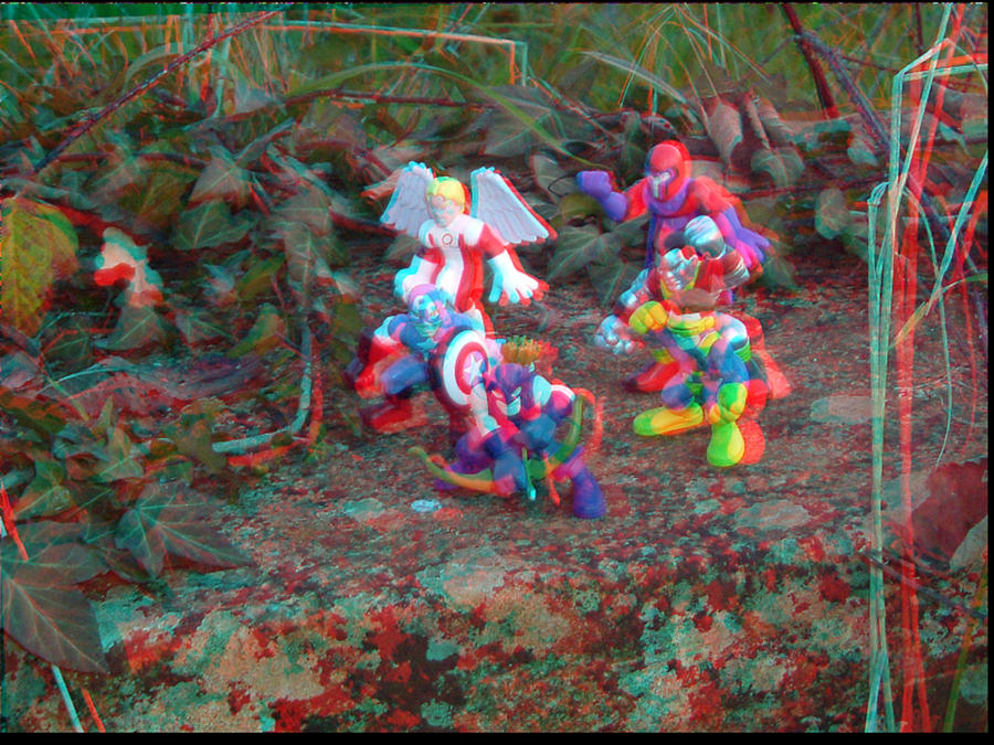 Superhero Squad Figures 3D Anaglyph by xmancyclops