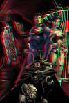 Superman, Batman and WW in 3D Anaglyph