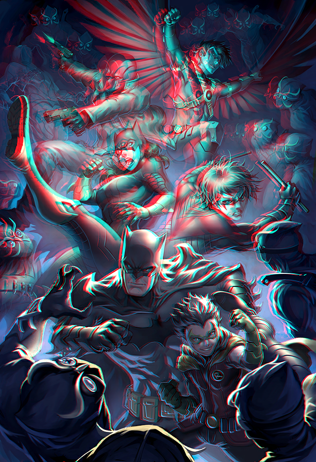 Batman vs Owls in 3D Anaglyph by xmancyclops