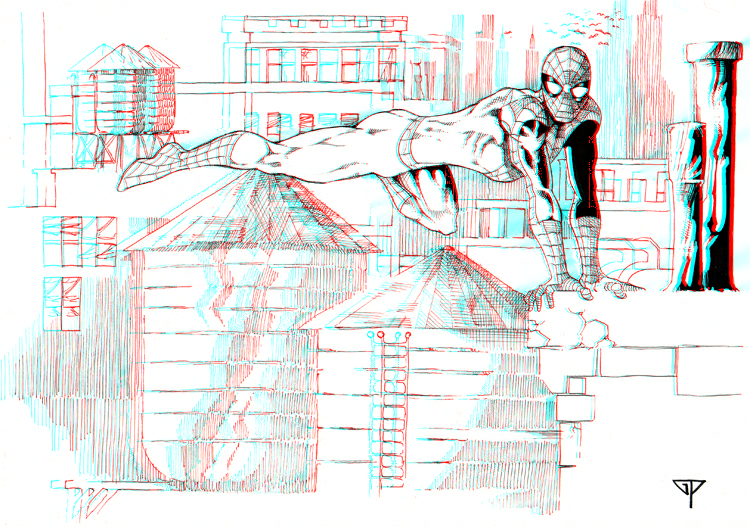 spidey_on_the_rooftops_in_3d_anaglyph_by_xmancyclops-d7xoa3p dans 3D
