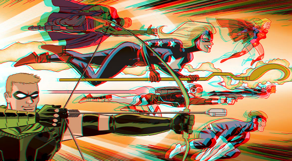 Justice League United in 3D Anaglyph by xmancyclops