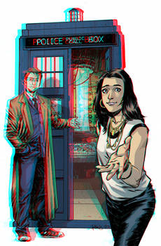 The Tenth Doctor and Gabby Gonzalez in 3D Anaglyph