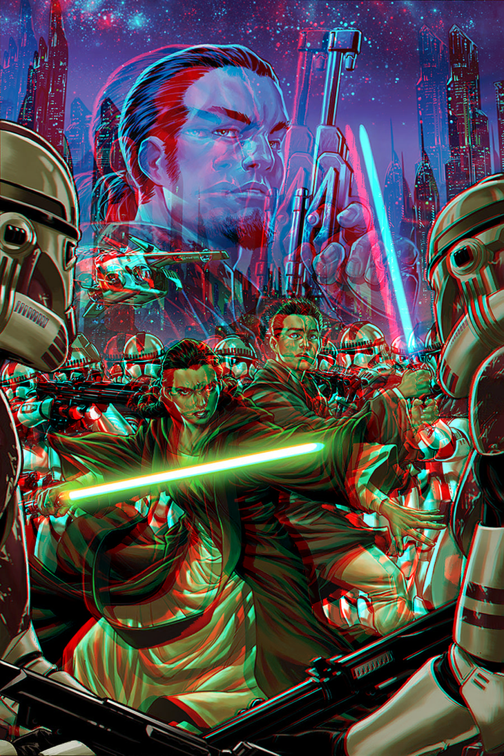 Star Wars Kanan in 3D Anaglyph by xmancyclops