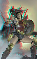 DC's Trinity by Clay Mann in 3D Anaglyph by xmancyclops