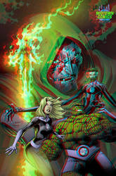 Fantastic Four by Mark Bagley in 3D Anaglyph by xmancyclops