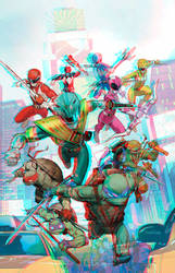 Tmnt and the Power Rangers by Dan Mora in 3D