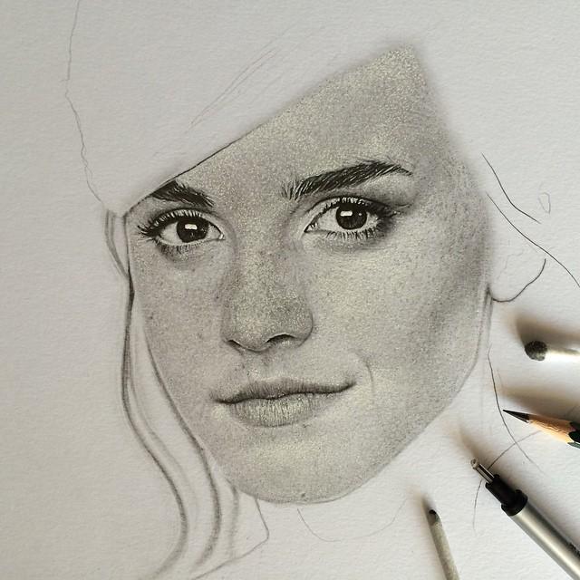 Drawing pencil portrait emma watson by erenlacin