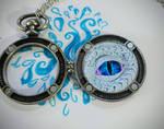 Ice Dragon Eye Pocket Watch Pendant | Clay