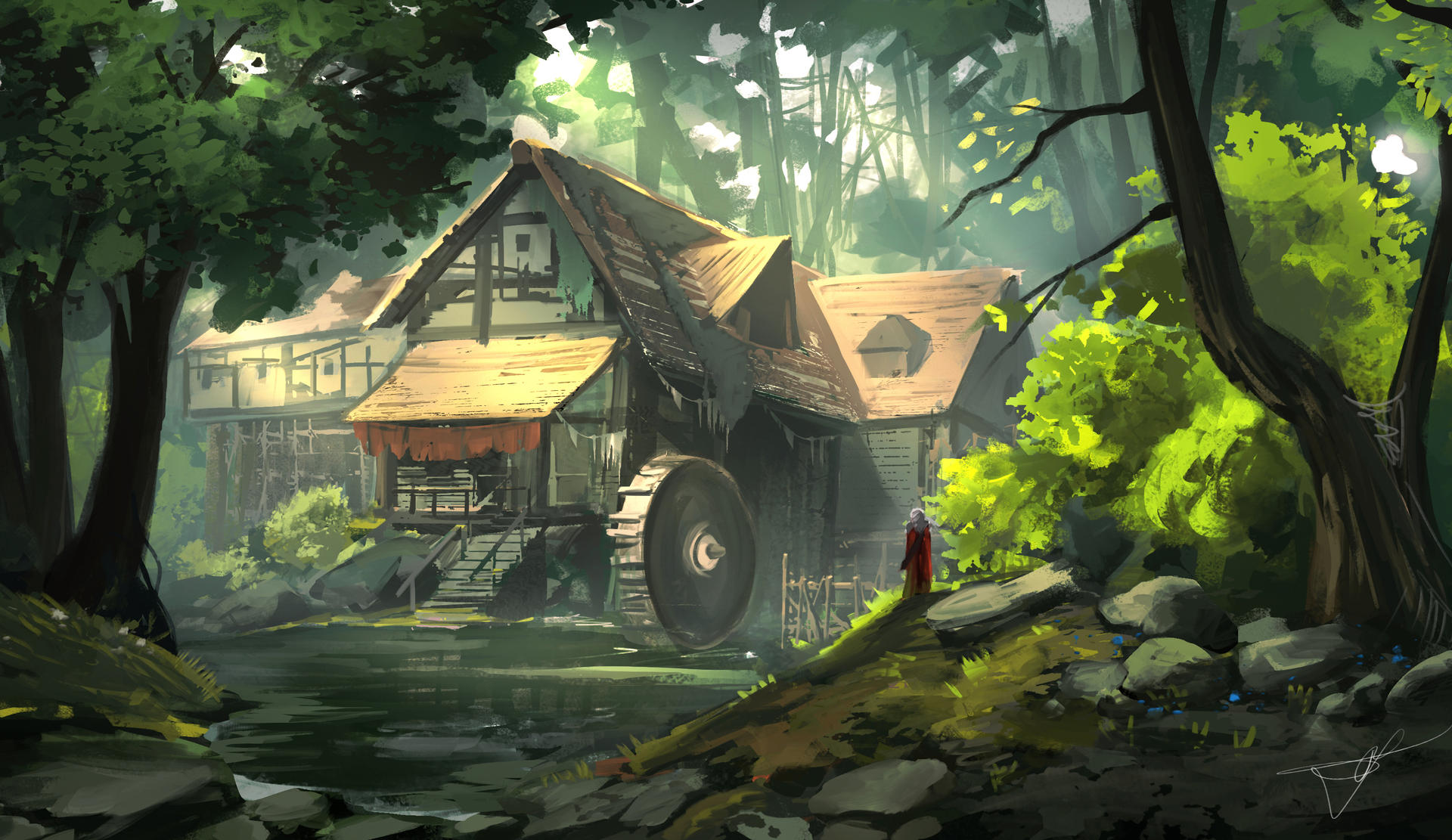 Watermill on the forest [Sketch]
