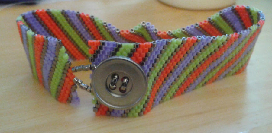 Fun Striped Peyote Bracelet by amalym