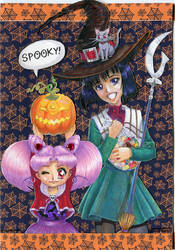 Halloween greeting card with Chibiusa and Hotaru by joan789