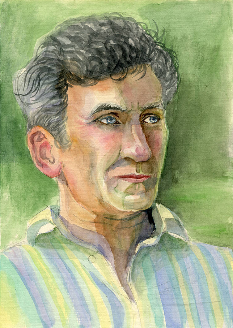 Dad. Summer portrait with watercolor by joan789