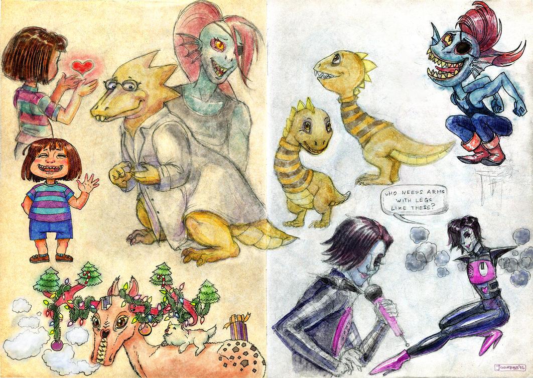 Sketchbook reversal with Undertale fanart by joan789