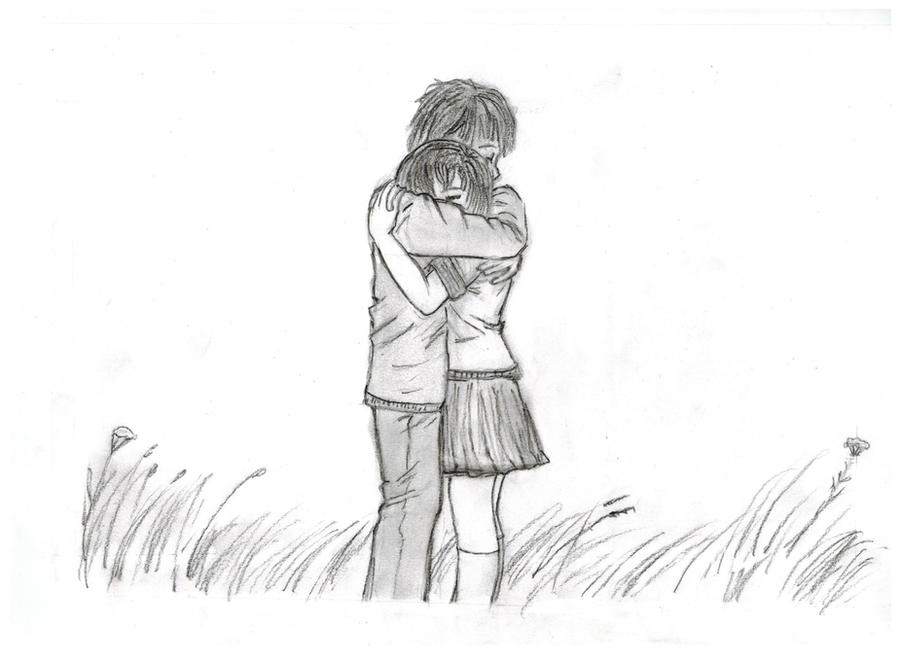 Sketches Of Couples Hugging A couple hugging by sh...