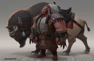Tanka The Buffalo Chief and Yuma by lawvalamp