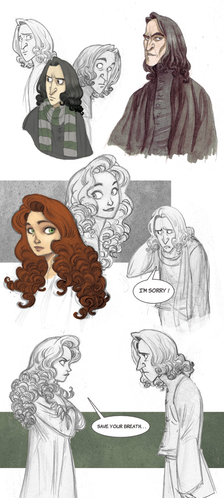 Snape and Lily sketchdump by kyla79