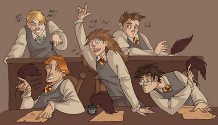 Typical Hogwarts Class Scene by kyla79